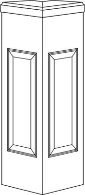 45 Degree Newel Post Line Drawing