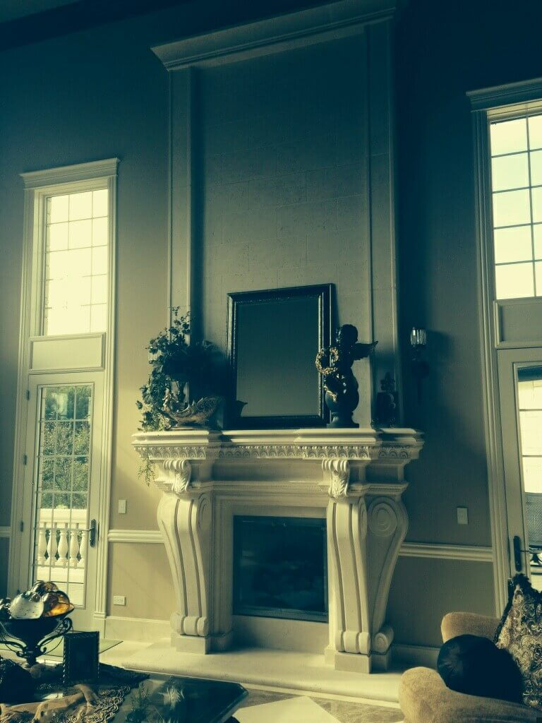 Cast Stone GFRC Fireplace Surround Ruffled Feathers Vi