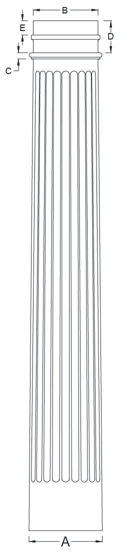 Fluted Column Line Drawing