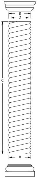 Rope Column Line Drawing